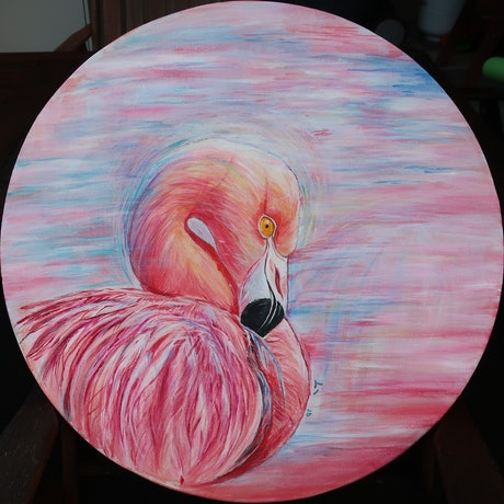 (CreativeWork) FLAMINGO by Lily Iris. Acrylic Paint. Shop online at Bluethumb.