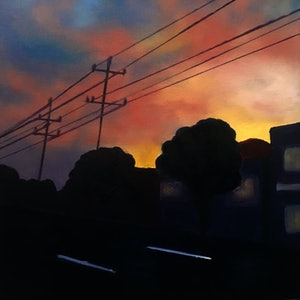 (CreativeWork) Sunset on Bestic by Kitty Berton. oil-painting. Shop online at Bluethumb.
