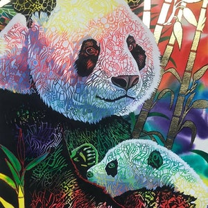 (CreativeWork)  Panda Love by Colour In Your Life. print. Shop online at Bluethumb.