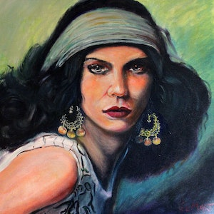 (CreativeWork) Melissa by Gerard Mignot. oil-painting. Shop online at Bluethumb.