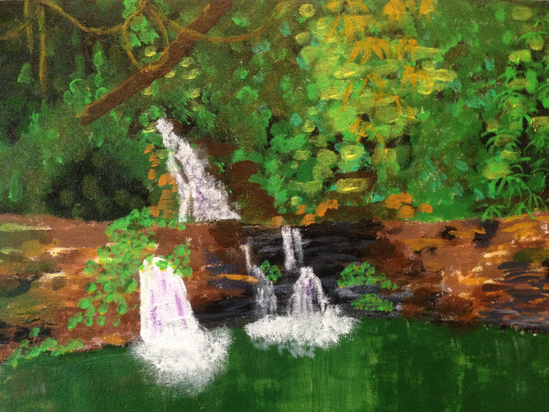 (CreativeWork) Rainforest Waterfall by Michelle Connors. arcylic-painting. Shop online at Bluethumb.