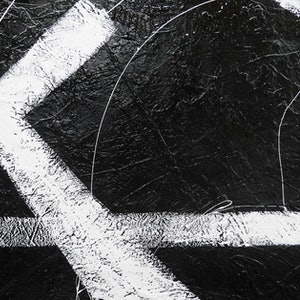 (CreativeWork) White Knight HUGE 240cm x 120cm   Acrylics Gloss Texture  Abstract minimalist black and white by _Franko _. arcylic-painting. Shop online at Bluethumb.