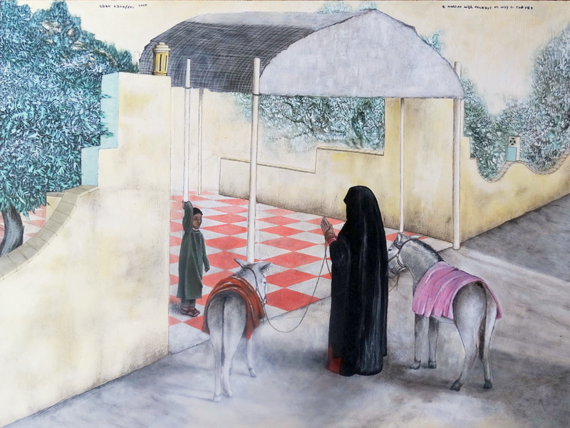 (CreativeWork) a mother with donkeys on way to Red Sea by Adam Kanofski. Mixed Media. Shop online at Bluethumb.