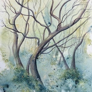 (CreativeWork) Snow Gums in the Mist by Donna Maloney. watercolour. Shop online at Bluethumb.
