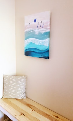 (CreativeWork) Aldinga Sunrise by Kathryn Gruber. Acrylic Paint. Shop online at Bluethumb.