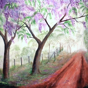 (CreativeWork) Jacaranda Journey by Rex Woodmore. arcylic-painting. Shop online at Bluethumb.