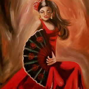 (CreativeWork) Spanish dancer by Michelle Baumann. arcylic-painting. Shop online at Bluethumb.