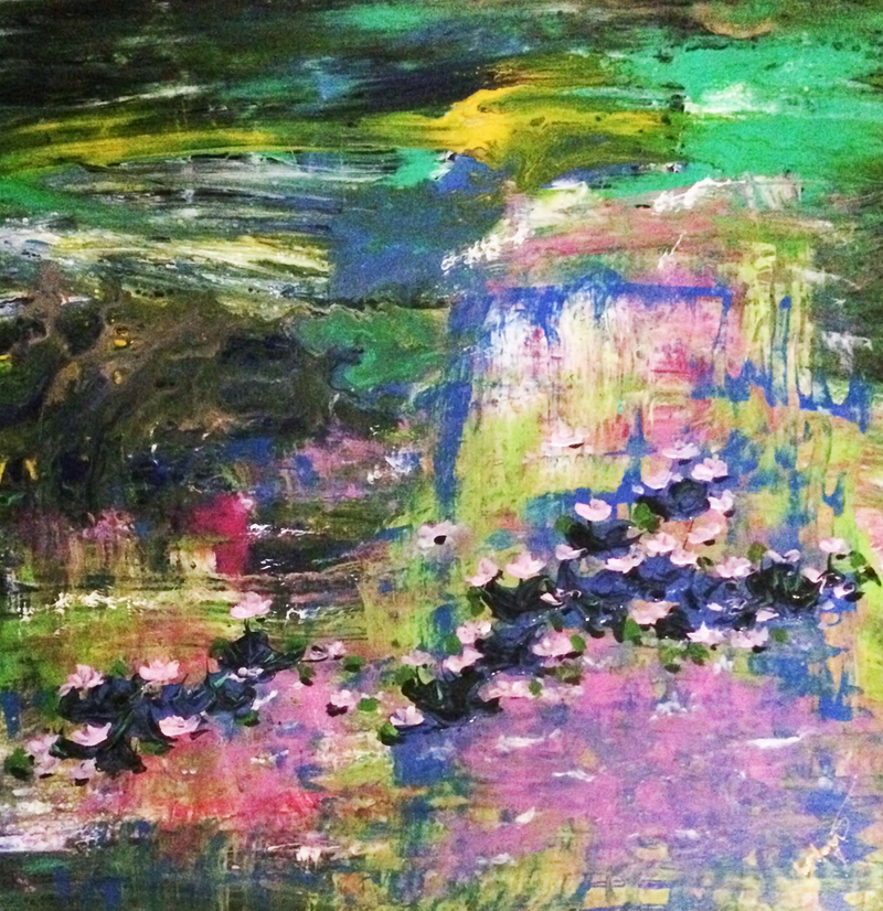(CreativeWork) A fantasy of colour : waterlilies (acrylic pour on gallery stretched canvas, ready to hang) by Margaret Morgan (Watkins). arcylic-painting. Shop online at Bluethumb.