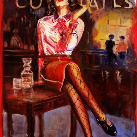 (CreativeWork) Cocktail Girl by Gerard Mignot. Oil Paint. Shop online at Bluethumb.