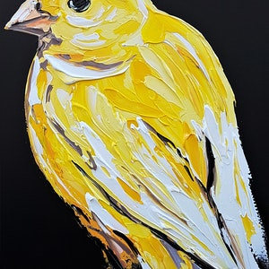 (CreativeWork) Yellow Canary by Lisa Fahey. arcylic-painting. Shop online at Bluethumb.