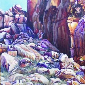 (CreativeWork) Enduring III  Of land itself by Joanne Hill. arcylic-painting. Shop online at Bluethumb.