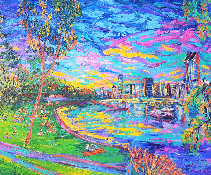 (CreativeWork) Sunday Funday by the Brisbane River by Donna Gibb. arcylic-painting. Shop online at Bluethumb.
