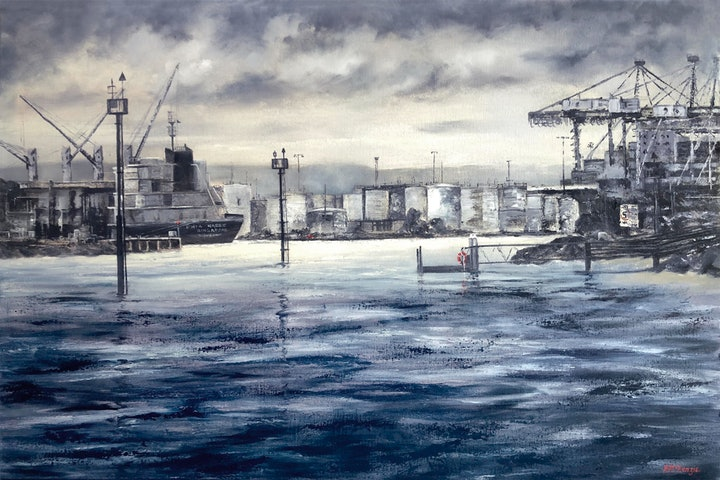 "(CreativeWork) ""Sea Commerce"" - Pat McKenzie by Pat McKenzie. oil-painting. Shop online at Bluethumb."