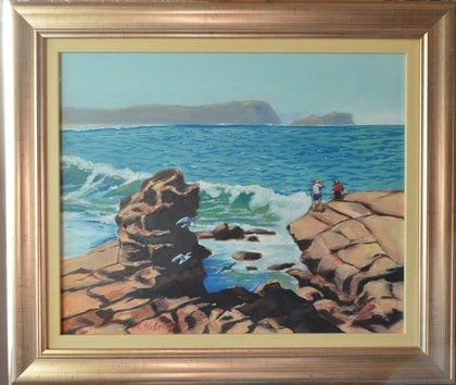 (CreativeWork) Avoca Beach vista by Murray McLeod. oil-painting. Shop online at Bluethumb.