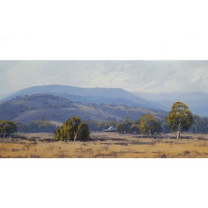 (CreativeWork) Tumut Valley Landscape by Graham Gercken. oil-painting. Shop online at Bluethumb.