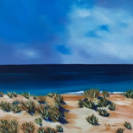 Ocean views of a Seascape. Golden Beach. Art by Sandra Messner.