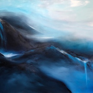 (CreativeWork) DREAMY MOUNTAIN  (153 x 102cm)  by Kat Las. arcylic-painting. Shop online at Bluethumb.