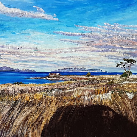(CreativeWork) Rushing around this land Girt by Sea by Donna Gibb. Oil Paint. Shop online at Bluethumb.
