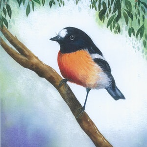 (CreativeWork) Little Scarlet Robin by Libby Simmons. watercolour. Shop online at Bluethumb.