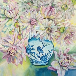 (CreativeWork) Chrysanthemums by Natasha Ruffio. arcylic-painting. Shop online at Bluethumb.