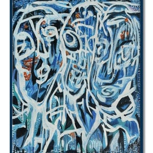 (CreativeWork) Selfie in the Mosh Pit 01 by Steve Fitz. oil-painting. Shop online at Bluethumb.