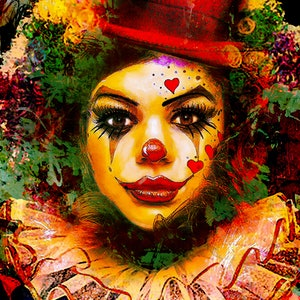 (CreativeWork) Lady Clown Ed. 1 of 10 by Gerard Mignot. print. Shop online at Bluethumb.