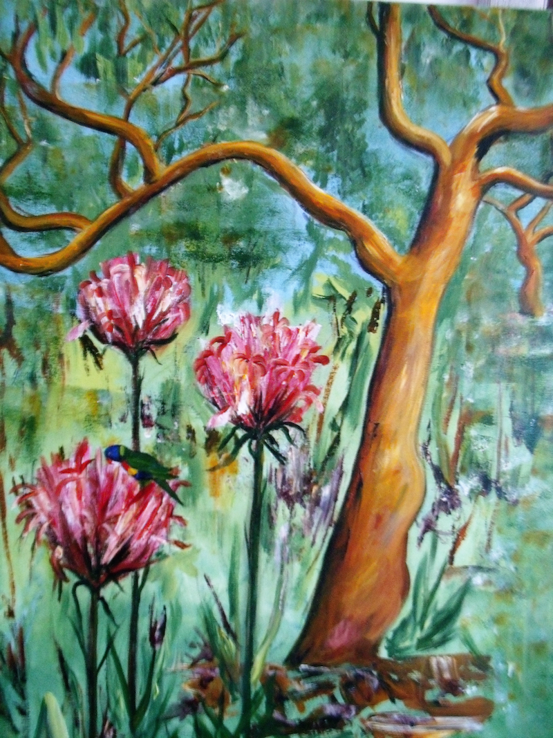 (CreativeWork) Gymea Lilies by Linne B Pattenden. arcylic-painting. Shop online at Bluethumb.