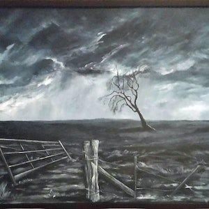 (CreativeWork) Just Beyond The Farm Gate by Jenny Care. arcylic-painting. Shop online at Bluethumb.
