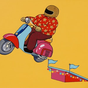(CreativeWork) The Fabulous Evel Kvespa by BRETT ROSE. arcylic-painting. Shop online at Bluethumb.