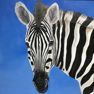 (CreativeWork) Little zebs by Sgrid Patterson. arcylic-painting. Shop online at Bluethumb.