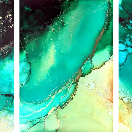 (CreativeWork) Prevelly Calm Triptych by Racheal Davis. Mixed Media. Shop online at Bluethumb.