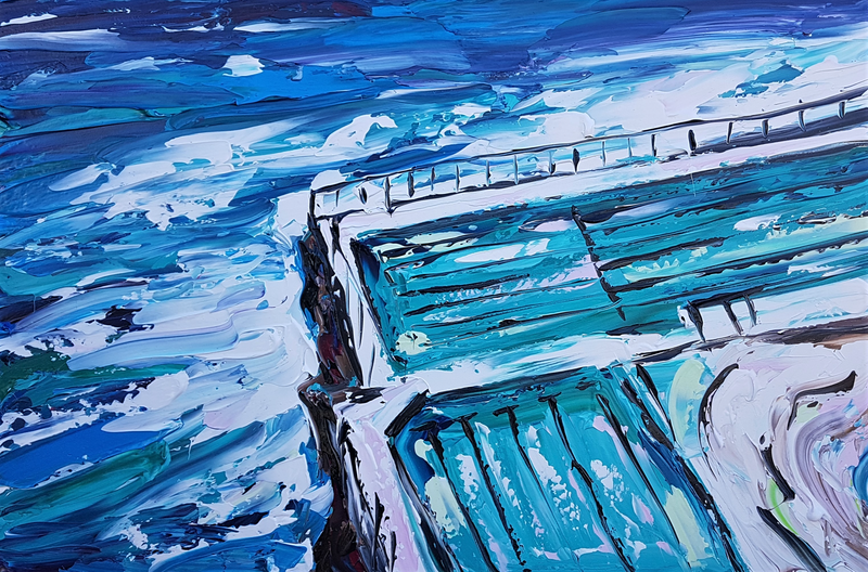 (CreativeWork) Bondi Pools by Lisa Fahey. arcylic-painting. Shop online at Bluethumb.