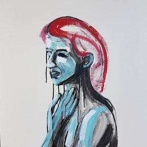 (CreativeWork) Woman of Worry by Sam Patterson-Smith. acrylic-painting. Shop online at Bluethumb.