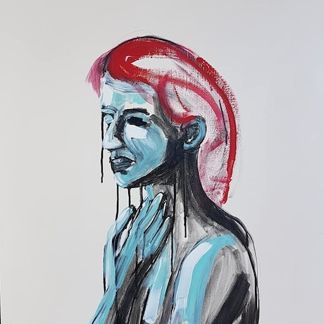 (CreativeWork) Woman of Worry by Sam Patterson-Smith. Acrylic Paint. Shop online at Bluethumb.
