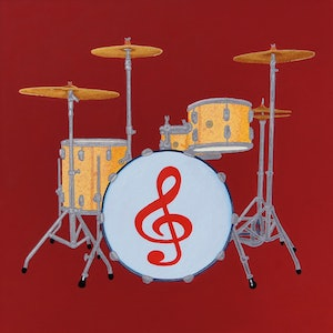(CreativeWork) Drumkit No.2 by BRETT ROSE. arcylic-painting. Shop online at Bluethumb.