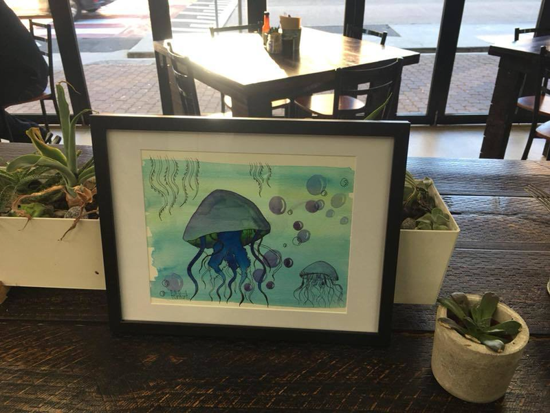 (CreativeWork) Jellyfish water by Fernanda Infanti. watercolour. Shop online at Bluethumb.