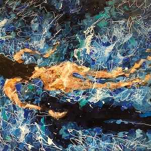 (CreativeWork) Skinny Dip 2 by Bonnie Hope. mixed-media. Shop online at Bluethumb.