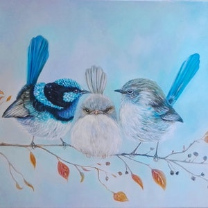 "(CreativeWork) Superb Fairy Wrens ""Stuck in the middle"" by Joanne Scriha. oil-painting. Shop online at Bluethumb."