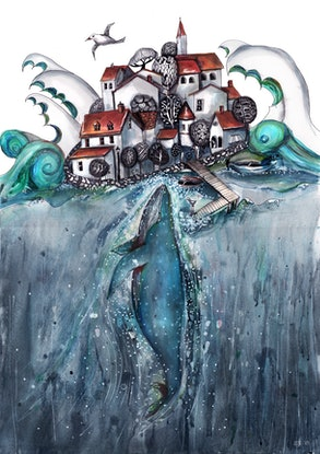 (CreativeWork) The sea is surprising by Jenny Wood. Drawings. Shop online at Bluethumb.