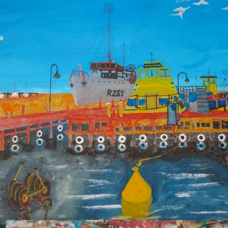 (CreativeWork) WILLIAMSTOWN PIER by Leslie Holding. Mixed Media. Shop online at Bluethumb.