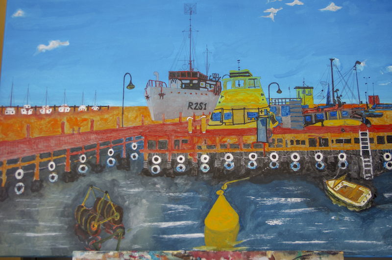(CreativeWork) WILLIAMSTOWN PIER by Leslie Holding. mixed-media. Shop online at Bluethumb.