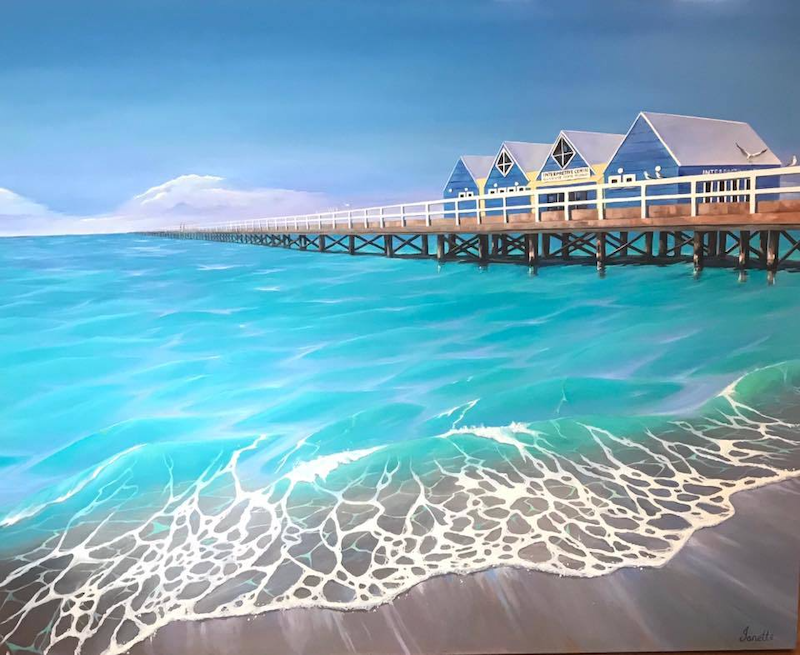 (CreativeWork) Busselton Jetty, Western Australia by Janette Drysdale. oil-painting. Shop online at Bluethumb.
