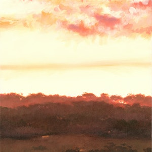 (CreativeWork) Sundown from Pfeiffer Road by Drew Harrison. acrylic-painting. Shop online at Bluethumb.