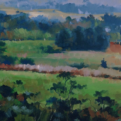 Sweeping scene across the Adelaide Hills encapsulating the cool blues, greens and purples during a cold winter's day.