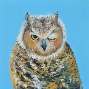 (CreativeWork) WINKING BARN OWL  by Jan Matson. oil-painting. Shop online at Bluethumb.