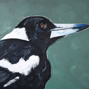 (CreativeWork) Magpie on the Green by Julie Hollis. arcylic-painting. Shop online at Bluethumb.