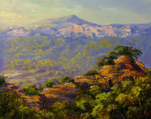 (CreativeWork) Pagodas near Capertee Valley - Oil on board by Christopher Vidal. #<Filter:0x0000559a35f74cf0>. Shop online at Bluethumb.