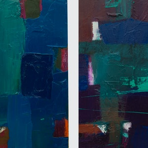 (CreativeWork) Opposites attract by Damien Venditti. oil-painting. Shop online at Bluethumb.