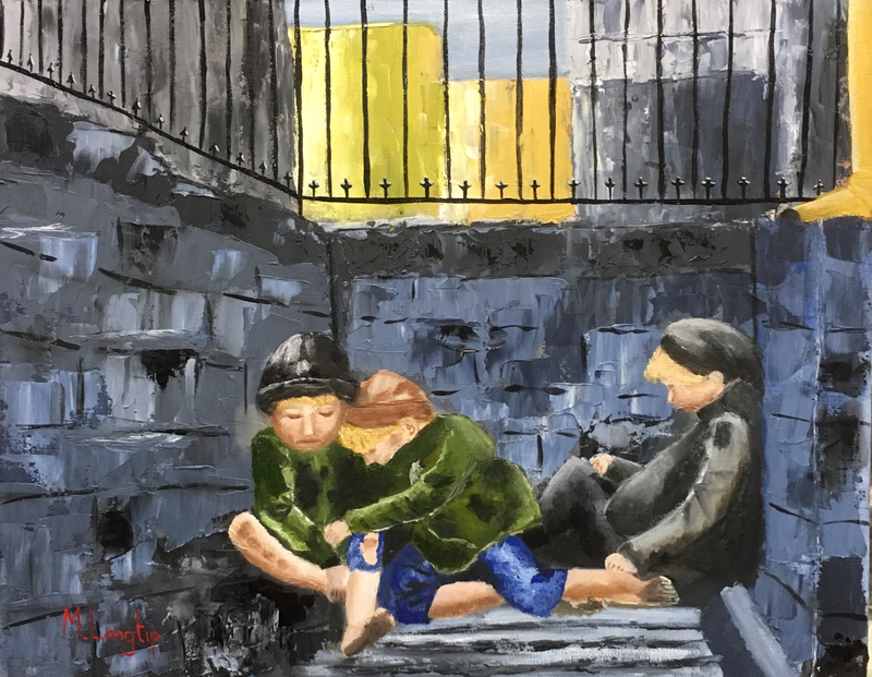 (CreativeWork) Street Urchins by Margie Langtip. oil-painting. Shop online at Bluethumb.