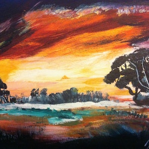 (CreativeWork) Colorful Sky by Janine H. arcylic-painting. Shop online at Bluethumb.